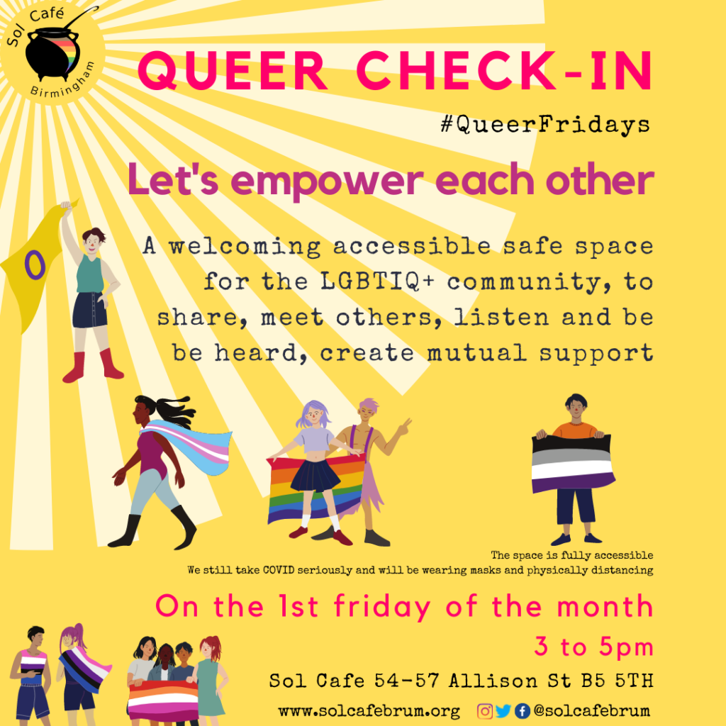 Queer check in, every first friday of the month, 3-5pm