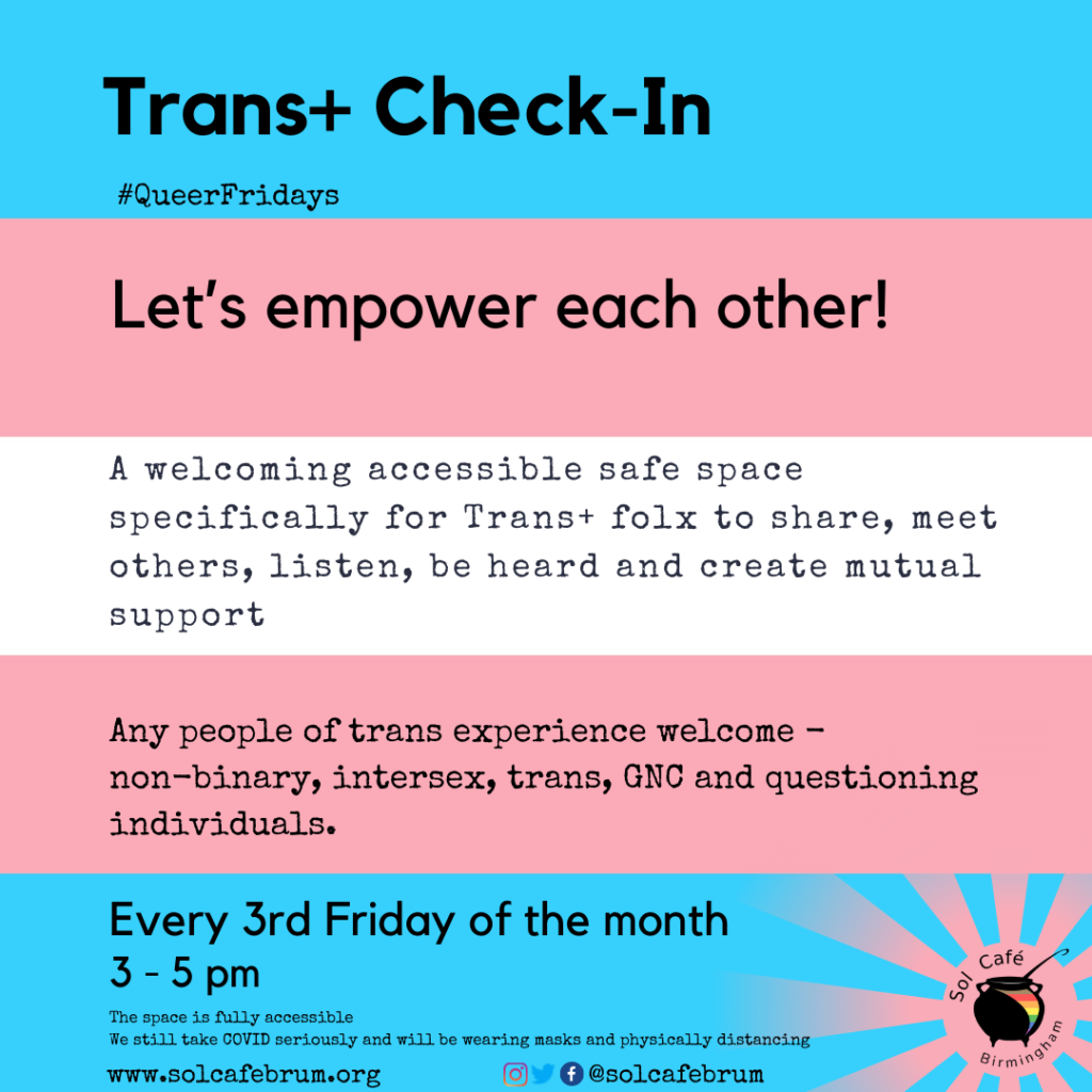 Trans+ check in every 3rd friday of the month, 3-5pm